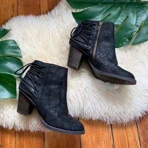 Boho Chic💕Black Microsuede Emmy Wedge Bootie